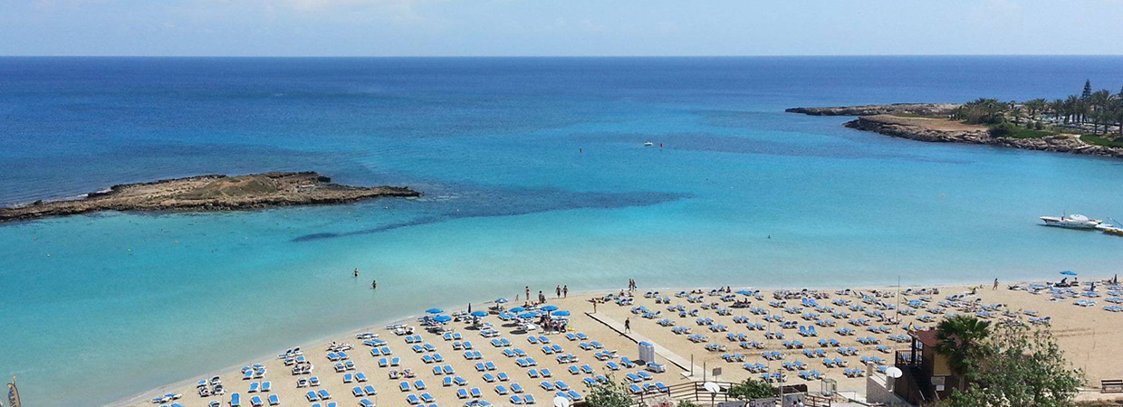 The Award winning blue flag Fig Tree Bay at Protaras Cyprus